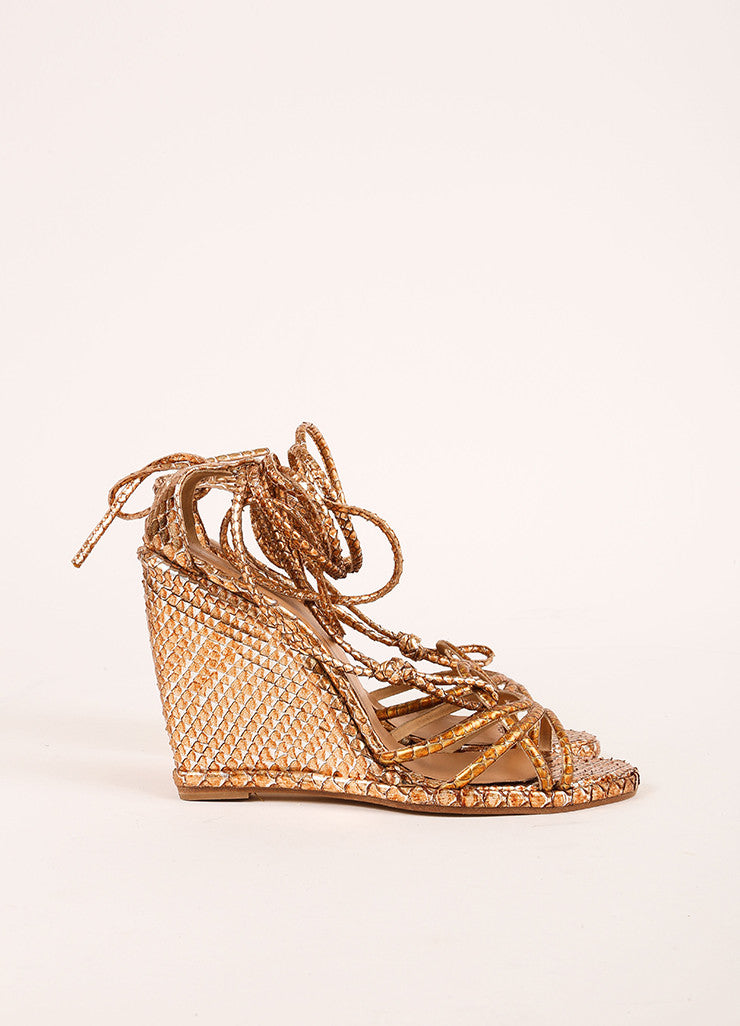 Pierre Hardy Copper and Silver Metallic Python Wedge Sandals Sideview
