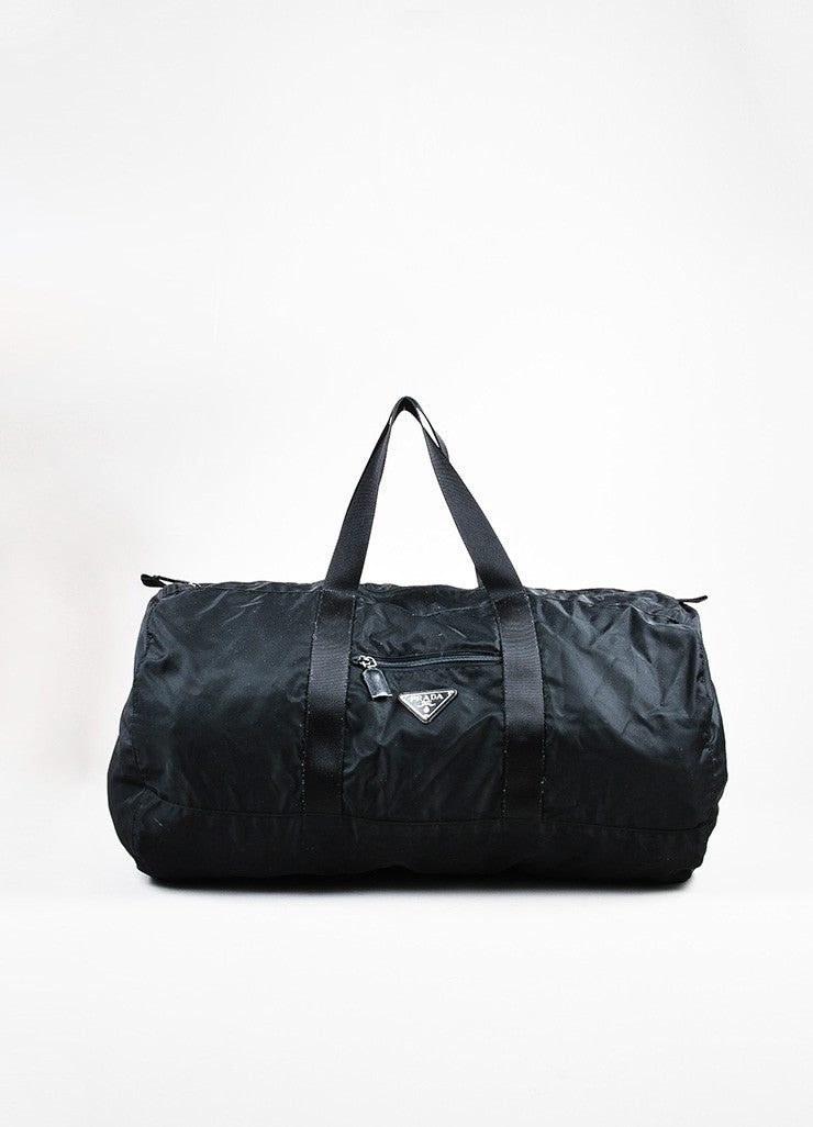 Prada Black Nylon Oversized Overnight Travel Carryall Duffel Bag Front