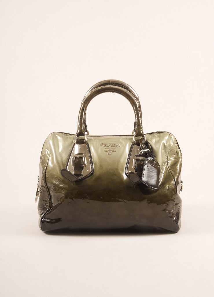 Prada Dark Green and Black Ombre Patent Leather Satchel Bag Frontview