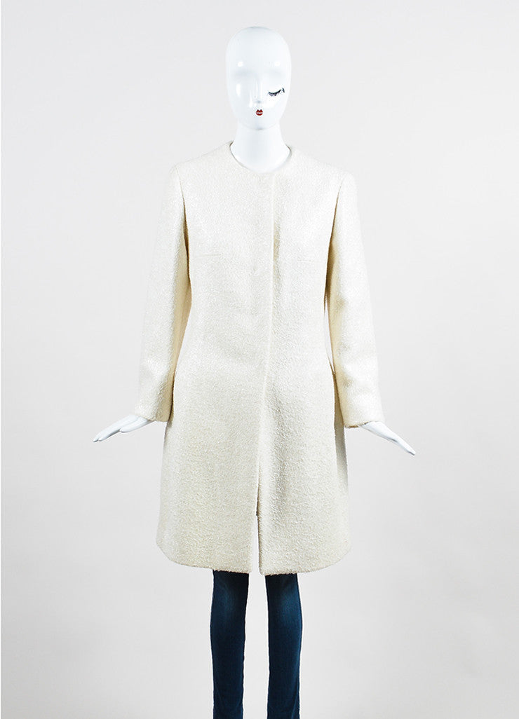 Cream Prada Metallic Woolen Long Sleeve Coat Frontview 2