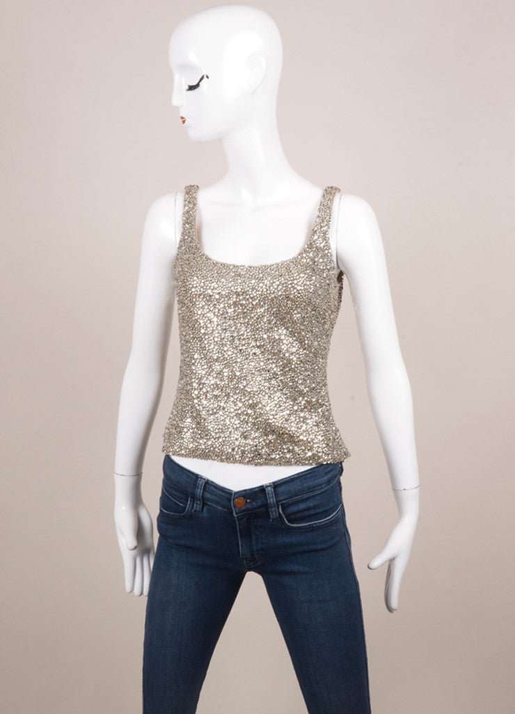 Randolph Duke Silver Rhinestone Embellished Tank Top Frontview