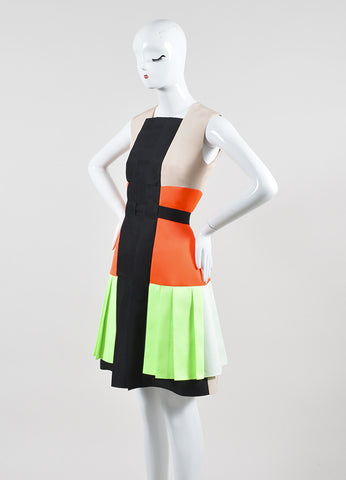 "Nude, Green, and Orange Roksanda Illincic Pleated ""Heydon"" Sleeveless Dress Sideview"