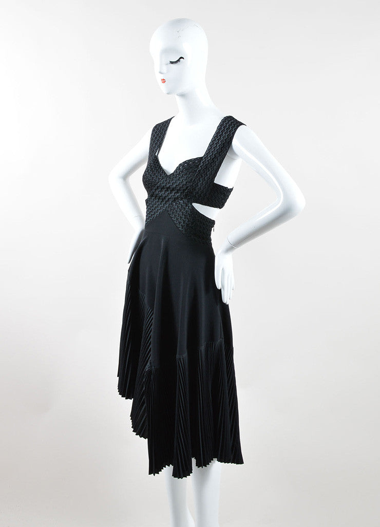Stella McCartney Black Wave Embroidered Cut Out Pleated Dress Sideview