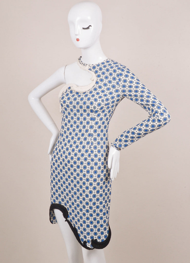 Stella McCartney White and Blue One Sleeve Dress Sideview