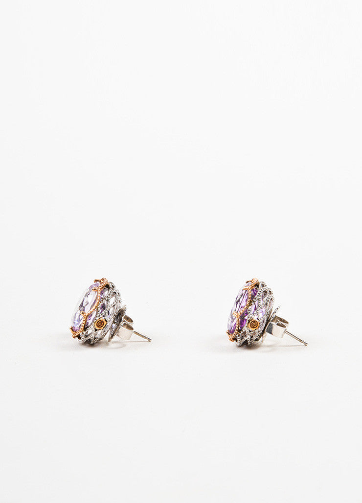 Tacori Sterling Silver, 18K Rose Gold, and Amethyst Post Earrings Sideview