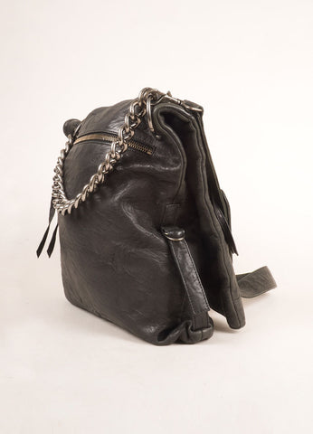 Thomas Wylde Black and Silver Toned Leather Studded Fold Over Shoulder Bag Sideview