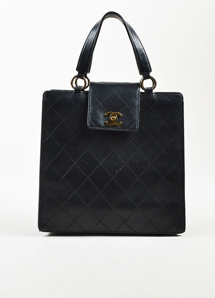 Chanel Black Leather Quilted Structured Tote Bag Frontview