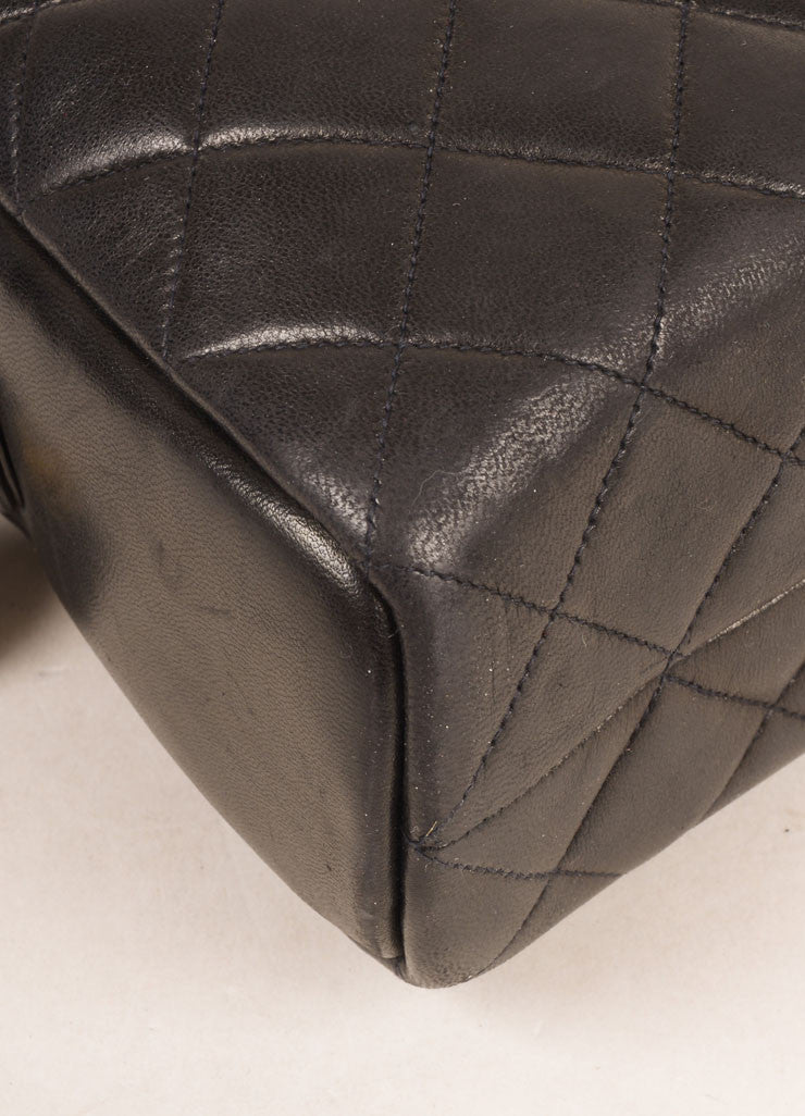 Chanel Black Quilted Leather Chain Strap Shoulder Bag Detail