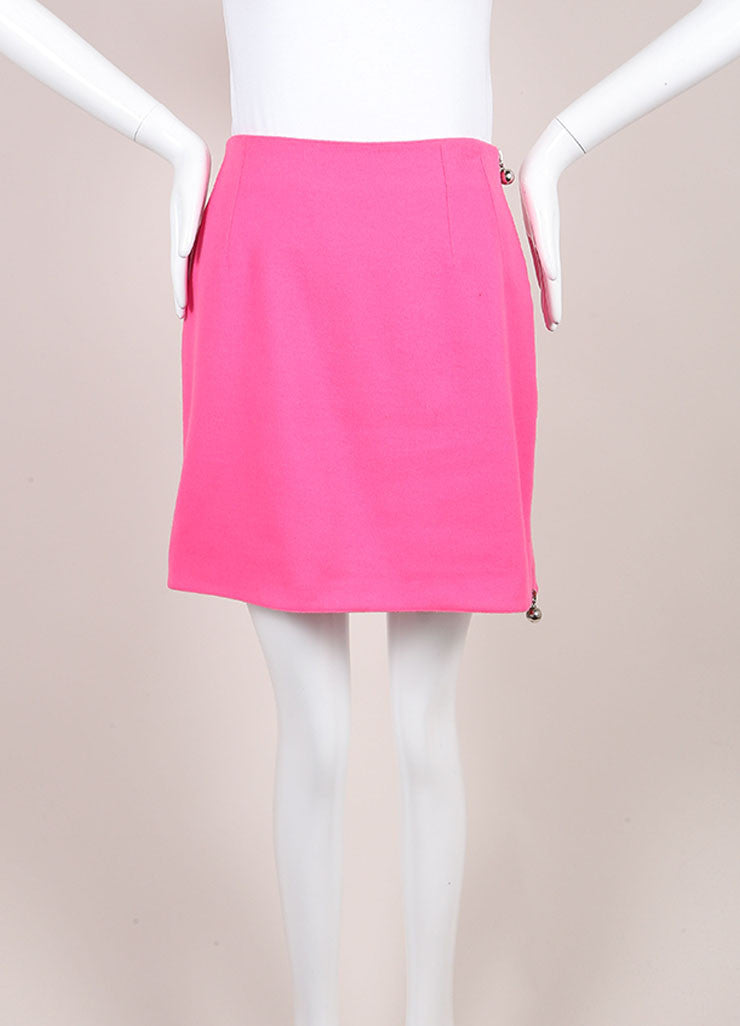Claude Montana Pink and Silver Toned Wool Mini Skirt Frontview