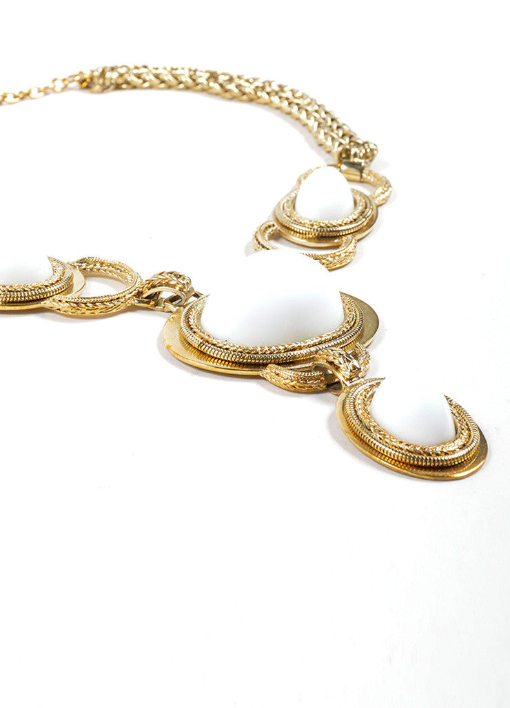 Escada Gold Toned and White Enamel Chunky Statement Pendant Necklace Detail 2