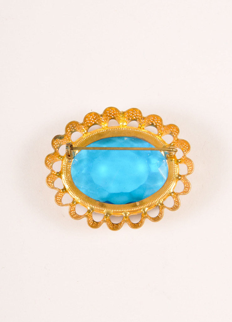 Vintage Gold Toned and Blue Faceted Gem and Metal Filigree Oval Pin Brooch Backview