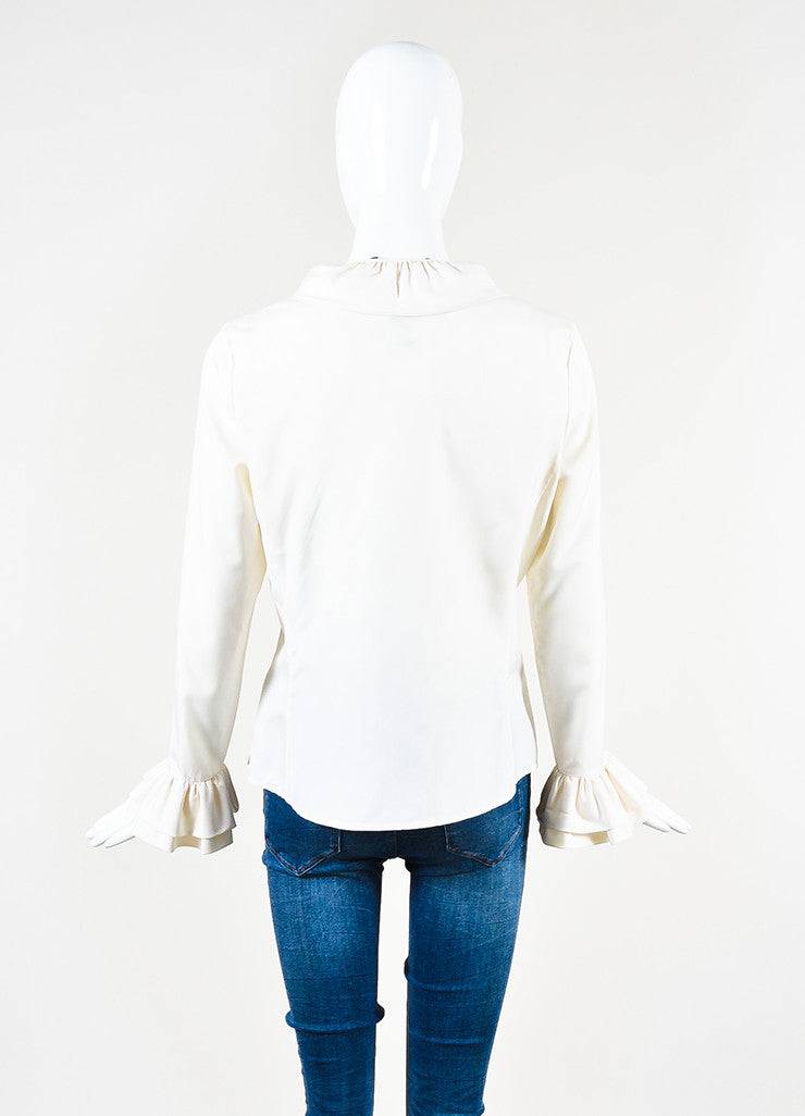 Gucci Cream Silk Layered Ruffle Long Sleeve Button Up Blouse Backview