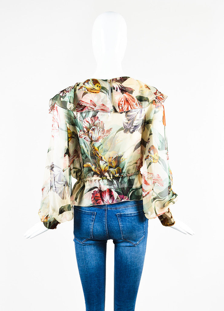 Valentino Multicolor Floral Chiffon Ruffled Sheer Criss Cross Long Sleeve Blouse Backview