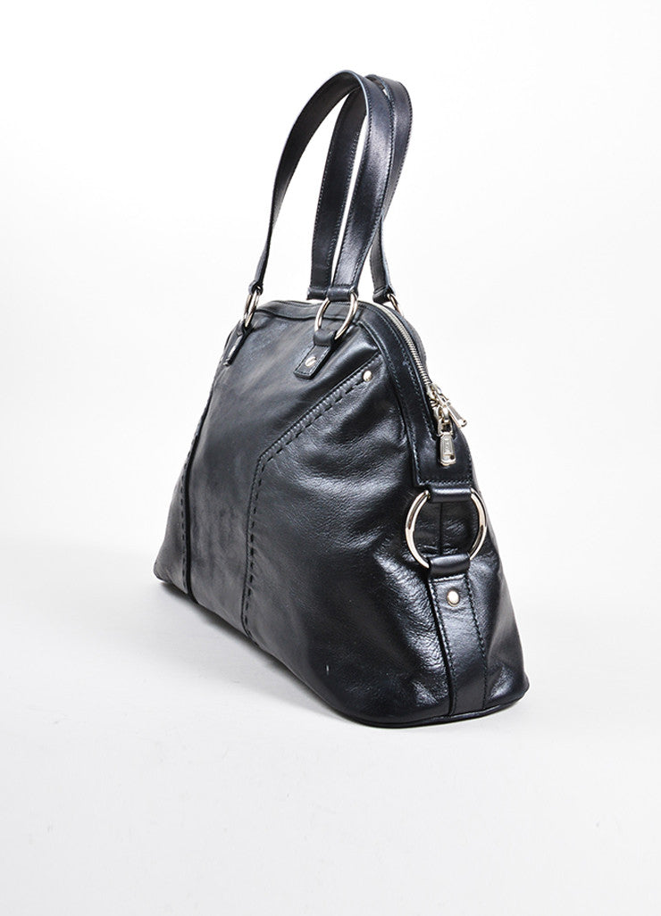 "Yves Saint Laurent Black Leather ""Muse"" Tote Bag Sideview"