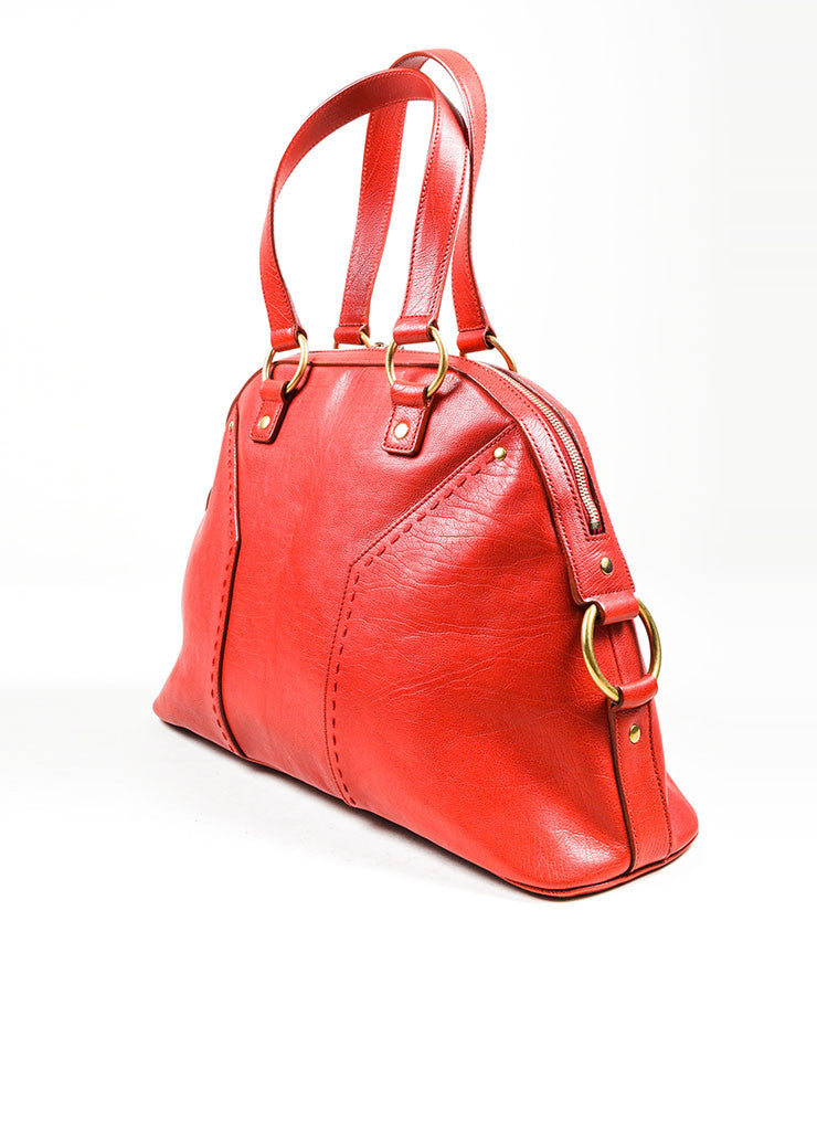 "Red Yves Saint Laurent Leather ""Muse"" Tote Bag Sideview"