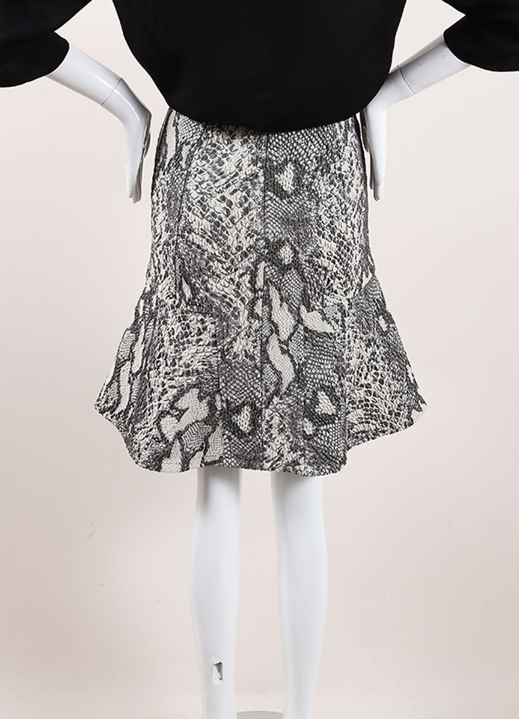 Yigal Azrouel Grey Reptile Texture Stretch Jacquard Skirt  Backview