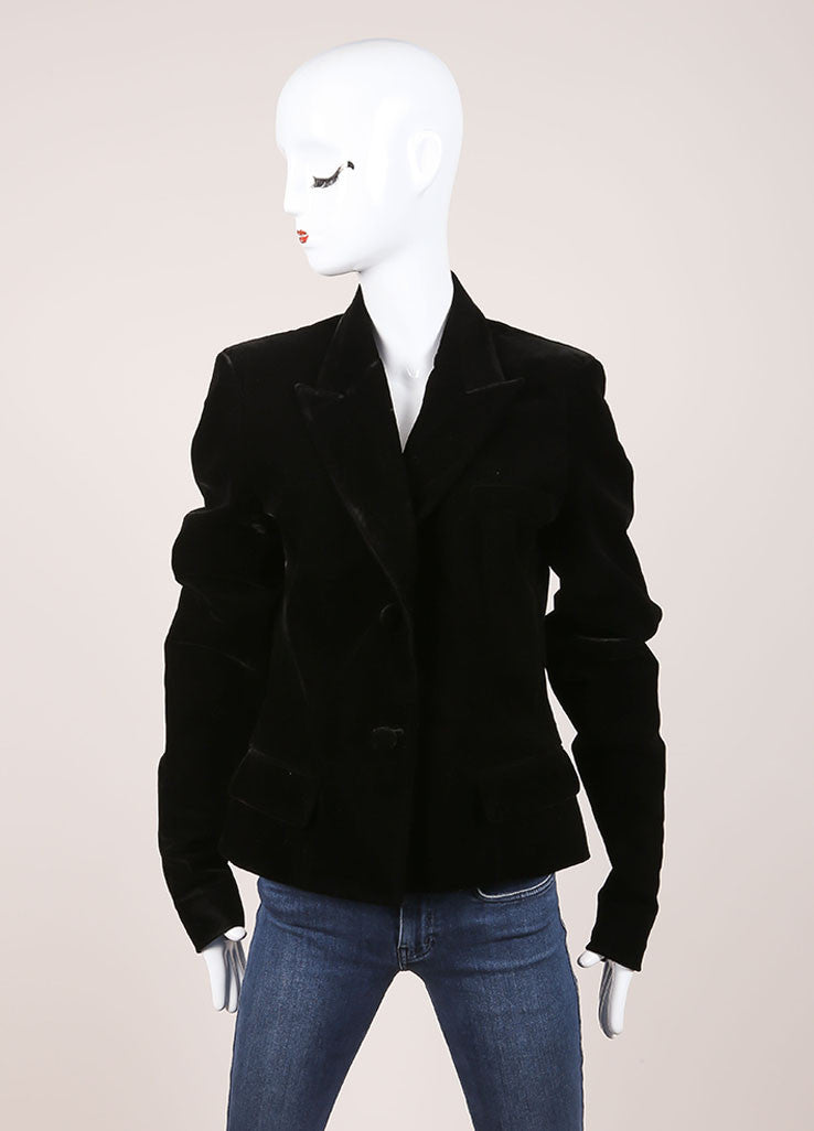 Yves Saint Laurent Black Velvet Blazer Frontview