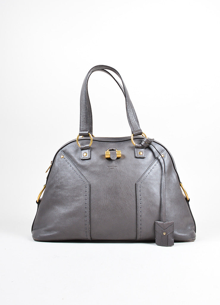 "Yves Saint Laurent Gray Pebbled Leather ""Muse"" Zip Dome Satchel Bag Frontview"