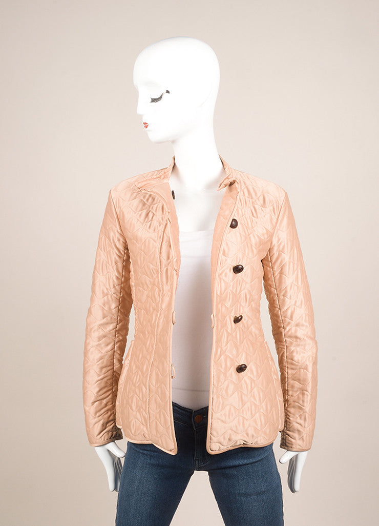 Yves Saint Laurent Light Pink Quilted Long Sleeve Jacket Frontview