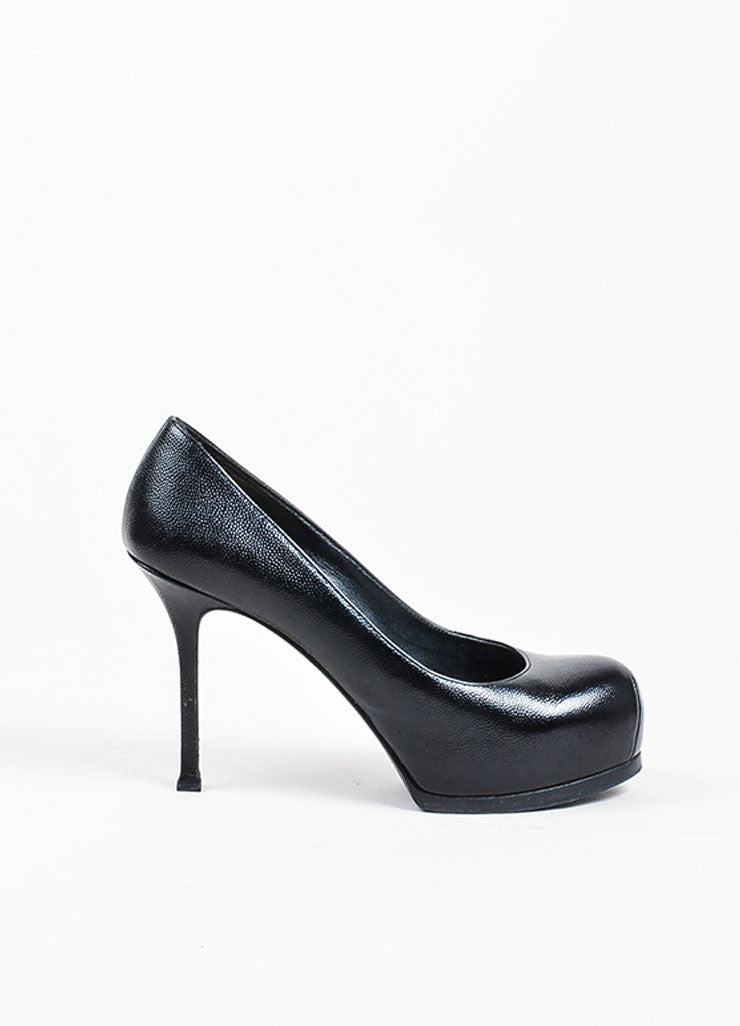 "Black Yves Saint Laurent Rive Gauche Pebble Leather ""Tribtoo"" Pumps Sideview"