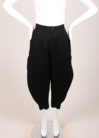 Krizia Black Linen Paneled High Waist Cropped Trouser Pants Frontview