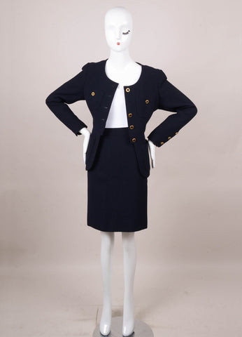 Navy Woven Skirt Suit With Gold Buttons
