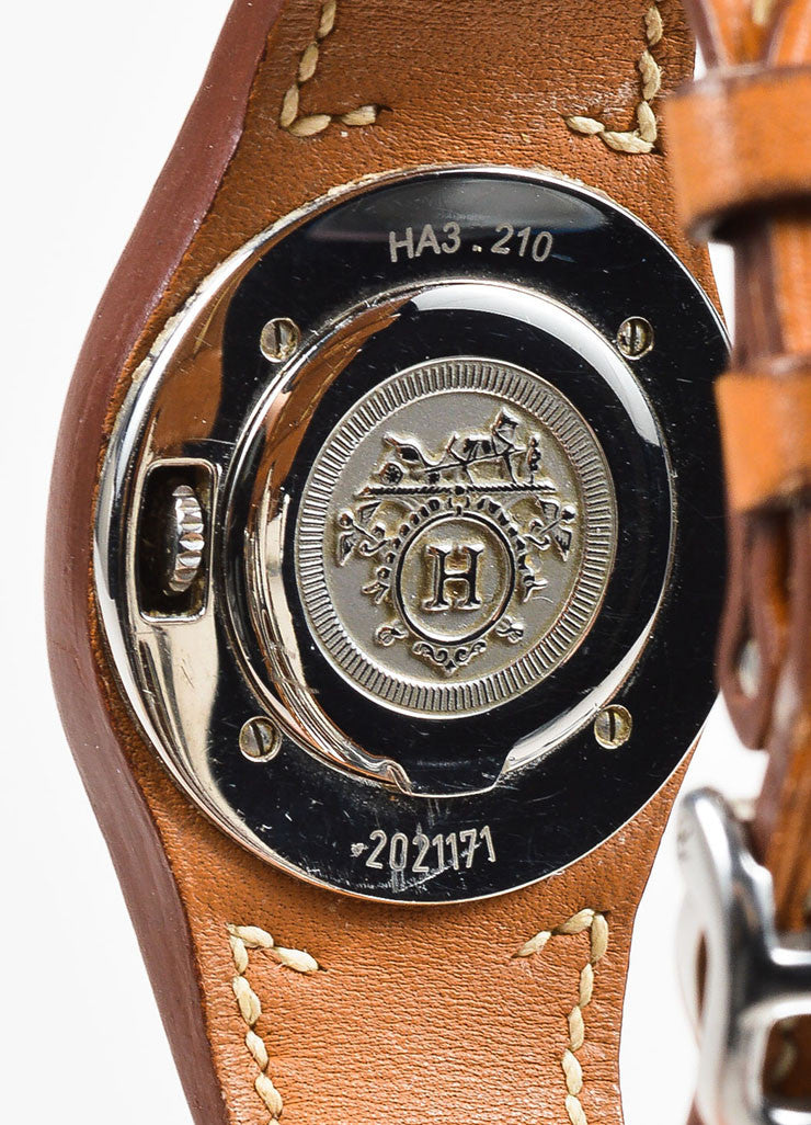 "Cognac Brown Hermes Leather and Stainless Steel ""Harnais"" Watch Detail"