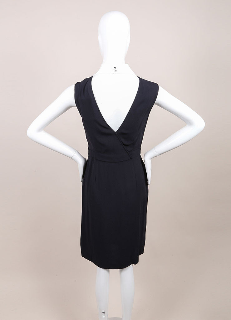 "A.L.C. New With Tags Navy and White Contrast Sleeveless Wrap ""Kweli"" Dress Backview"