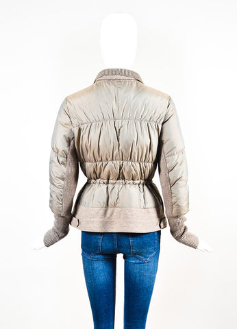 Brunello Cucinelli Grey-Taupe Sweater Contrast Quilted Puffer Jacket Backview