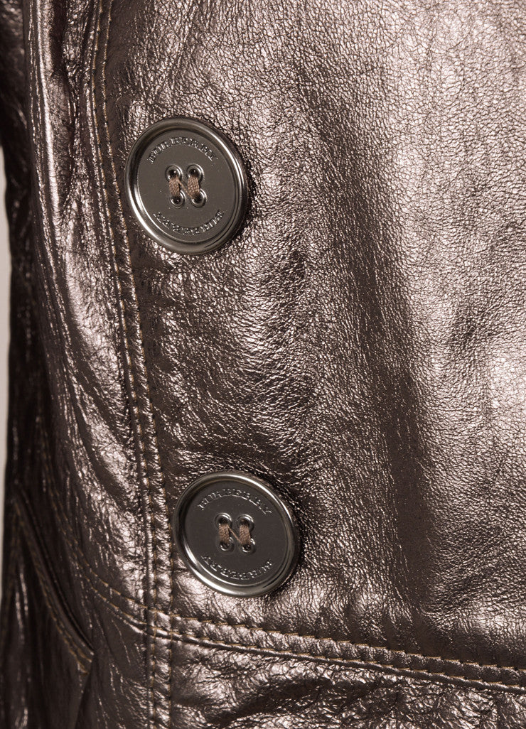 Burberry Gunmetal Lambskin Leather Double Breasted Short Jacket Detail