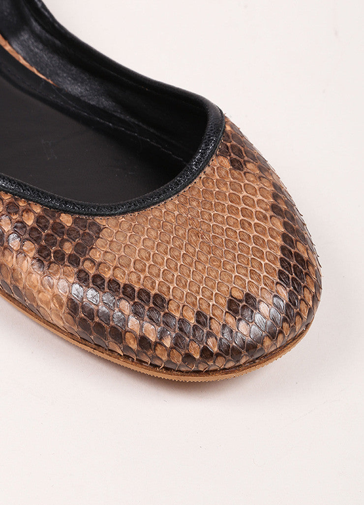 Celine Brown and Black Snakeskin Round Toe Flats Detail