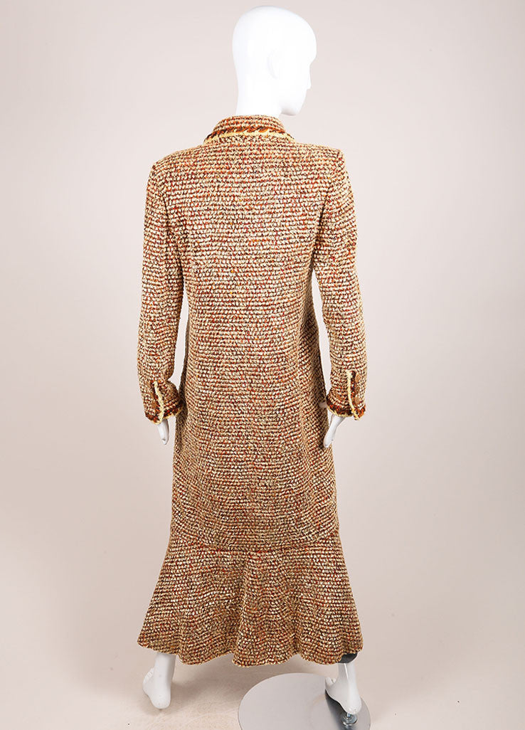 Chanel Tan, Orange, and Brown Woven Knit Long Sleeve Duster Coat Backview