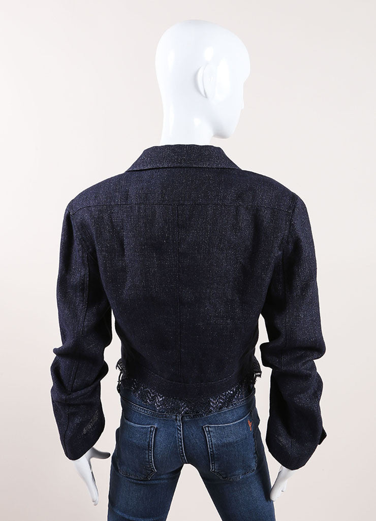 Chanel Dark Blue Lace Trim Jacket Back View