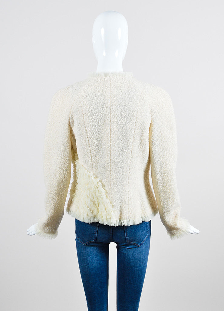 Cream Chanel Wool Tweed and Silk Ruffle Detail V-Neck Blazer Backview