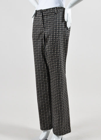 Black, Beige, and Grey Chanel Tweed Pattern Print Cotton Wide Leg Pants Sideview