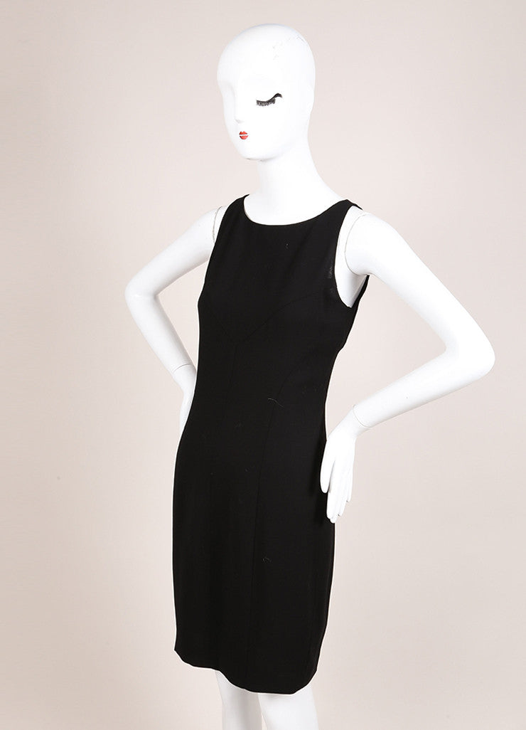 Chanel Black Silk Knit Sleeveless Shift Dress Sideview