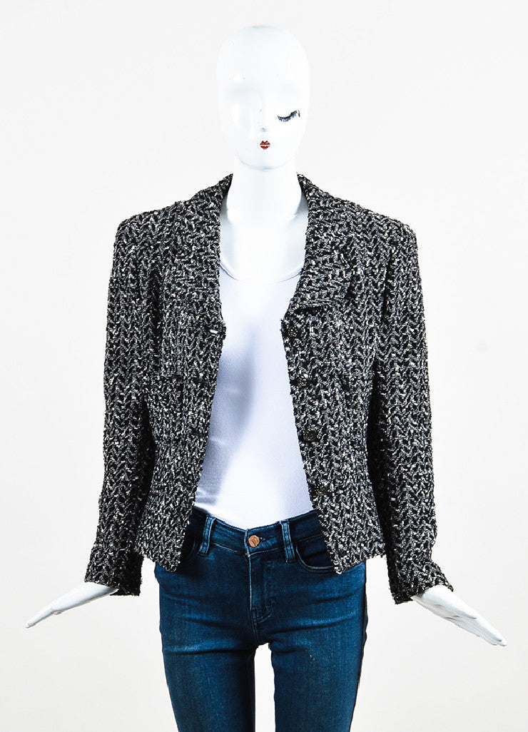 "Chanel 97A Black White Wool Tweed Gunmetal ""CC"" Button Jacket Front"