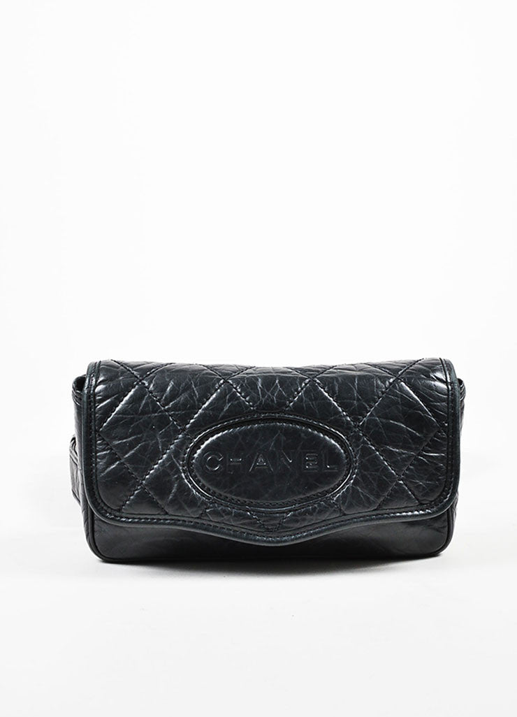 Black Chanel Leather Quilted 'CC' Logo Strap Crossbody Bag Frontview