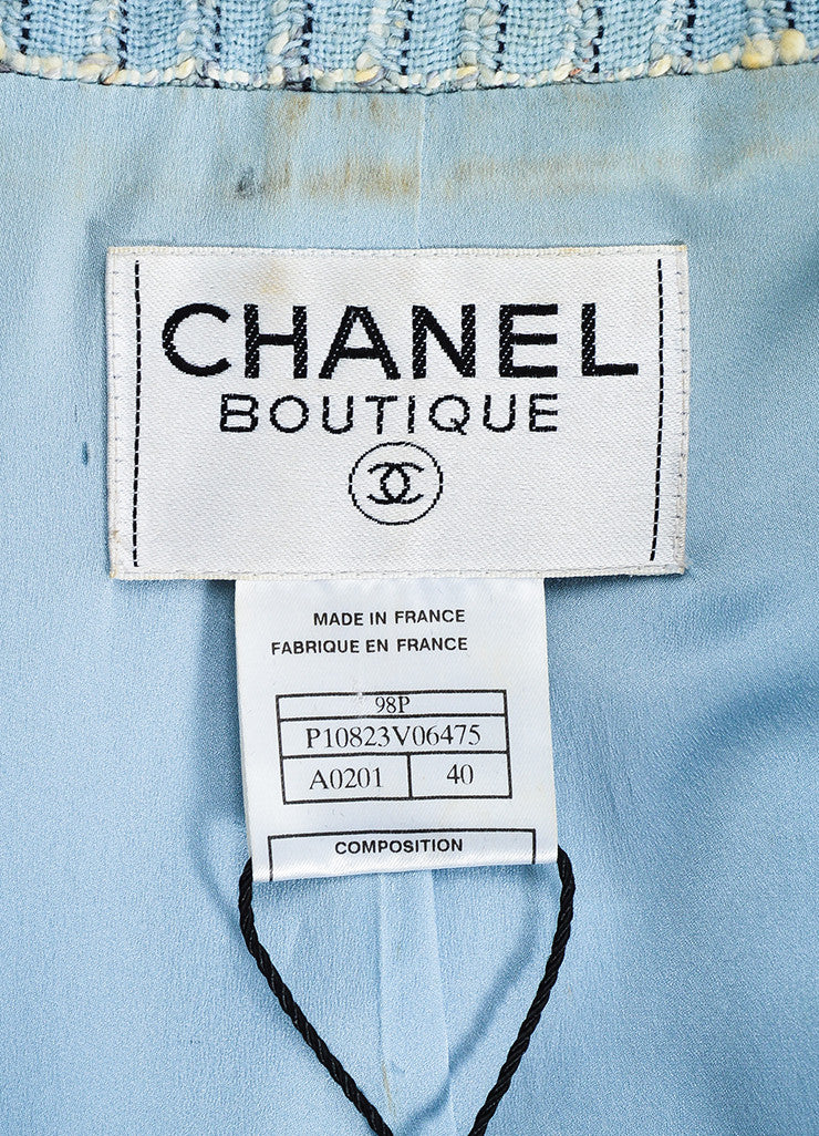 Chanel Light Blue and Multicolor Wool Tweed Plaid Collared Jacket Brand