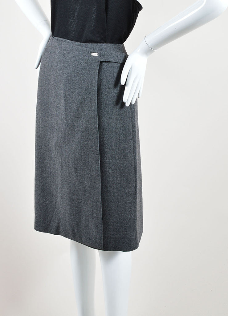 Chanel Grey Wool Knee Length Straight Wrap Skirt Sideview