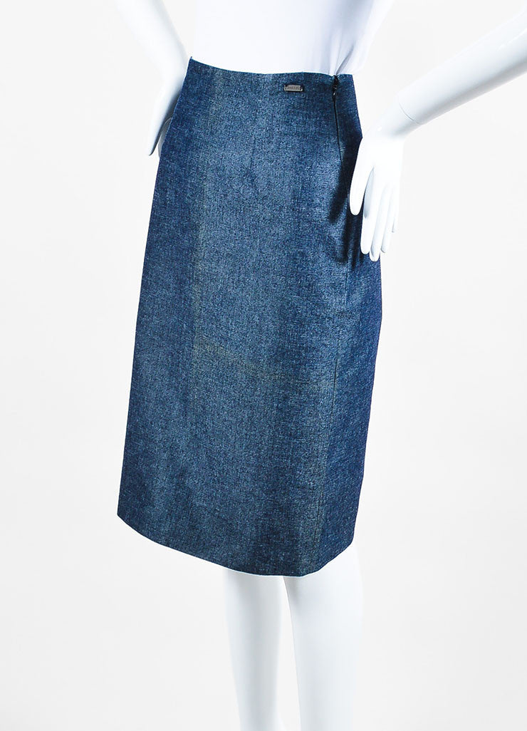 Chanel Blue Denim Knee Length Pencil Skirt Sideview