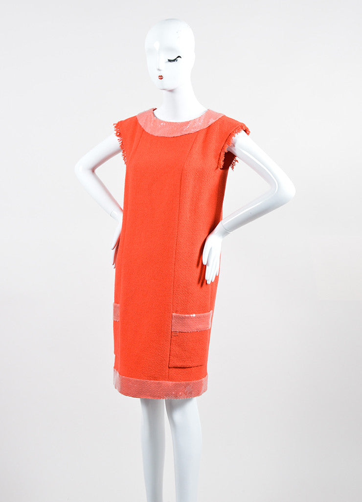 Coral and Pink Chanel Cotton Tweed Sequin Trim Sleeveless Shift Dress Sideview