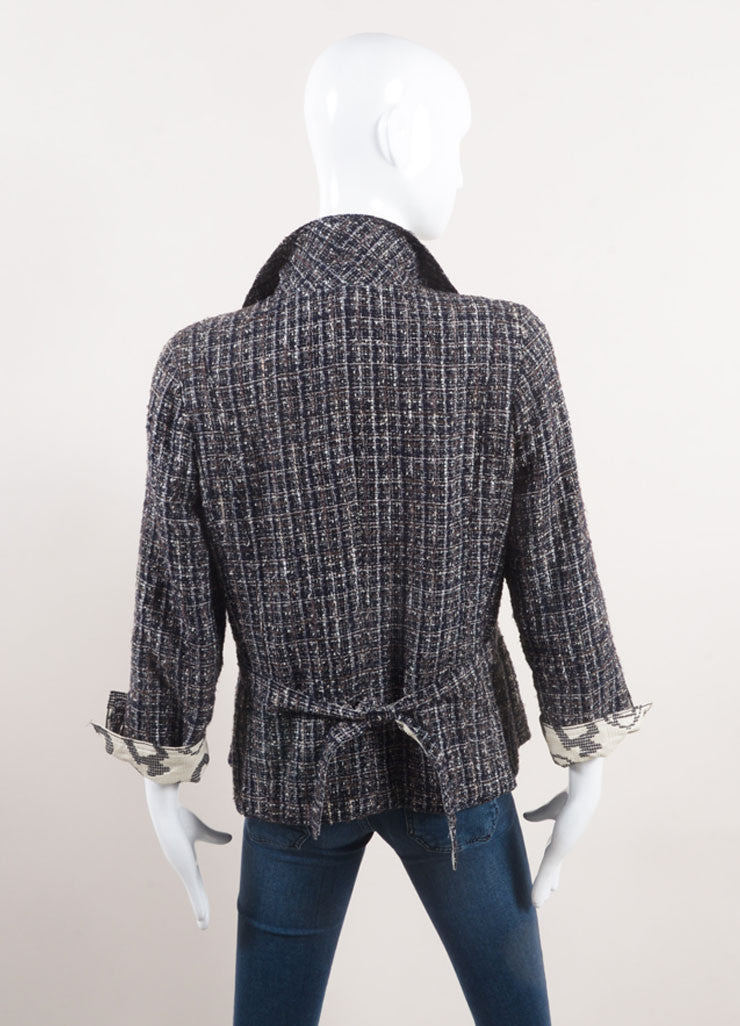 "Chanel Navy Blue Tweed ""CC"" Collar Belted Jacket Backview"