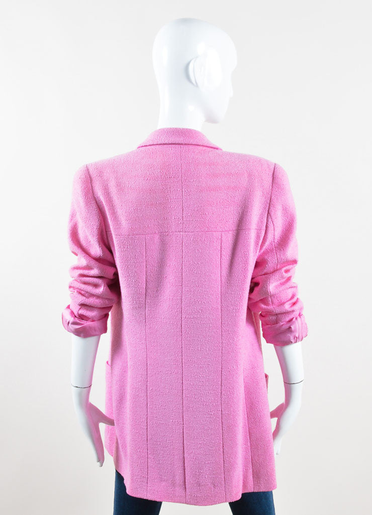 "Chanel Pink Knit ""CC"" Button Coat Backview"