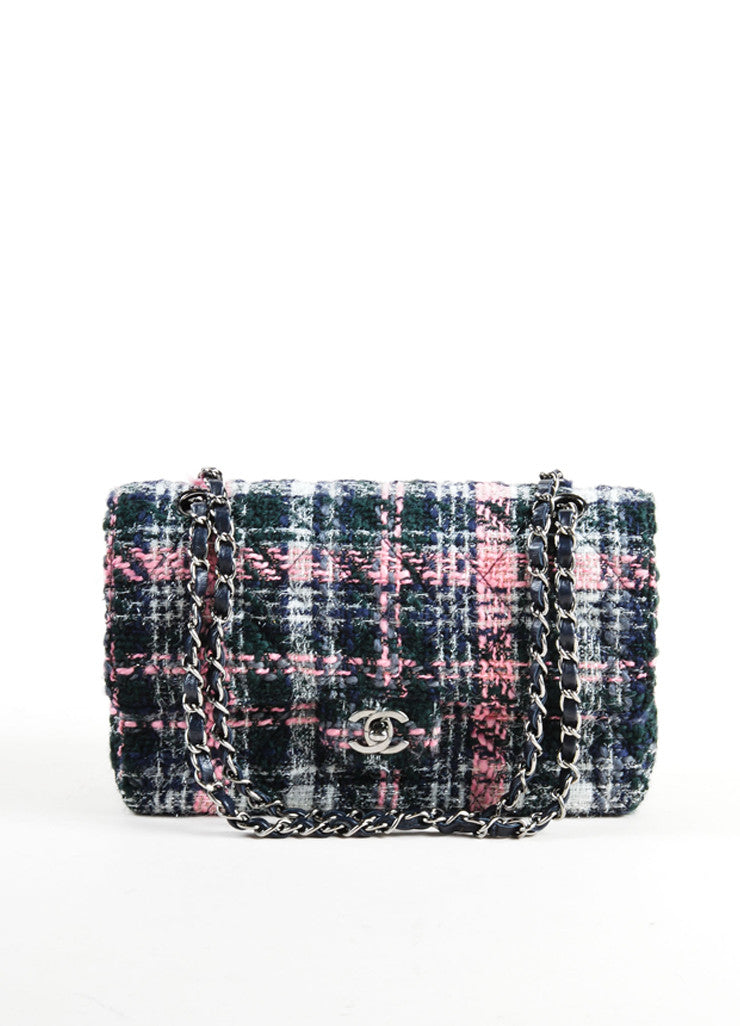 "Chanel Pink and Navy Metallic Tweed ""CC"" Turn Lock Chain Strap Flap Bag Frontview"