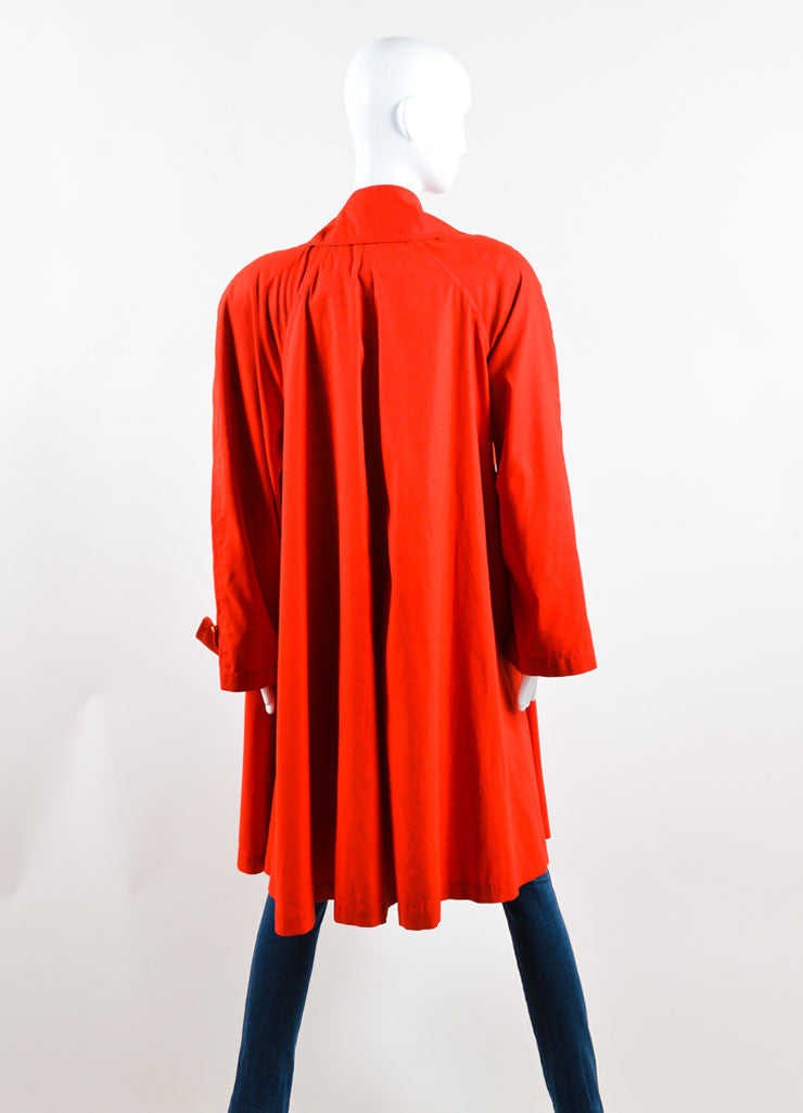 "Chanel Red and Gold Toned ""CC"" Button Trench Coat Backview"
