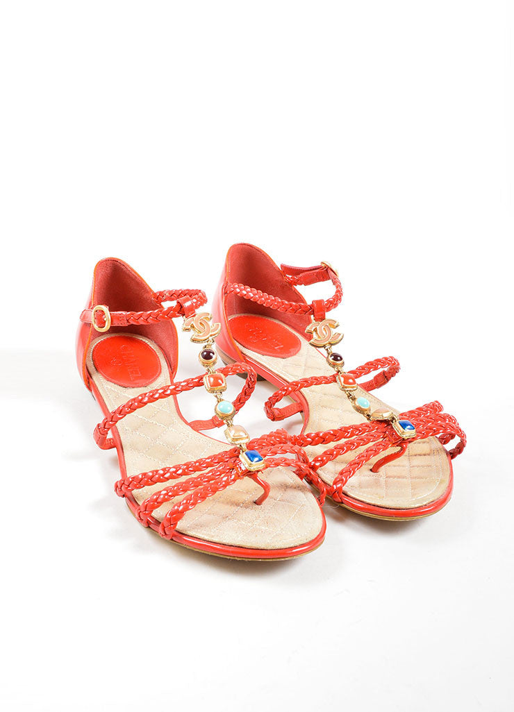 Chanel Red Patent Leather Braided Gripoix Stone Sandals Frontview