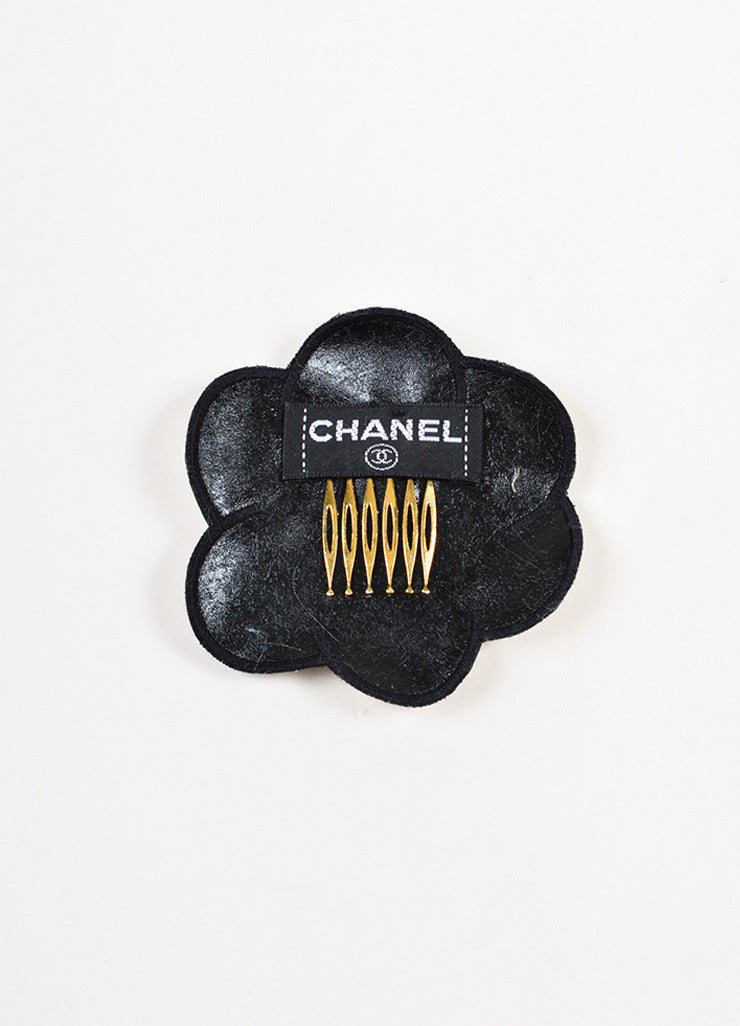 Chanel White and Black Two Tone 'CC' Logo Camellia Flower Hair Comb Pin Backview