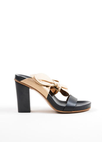 Beige and Black Chloe Leather Bow Slip On High Heel Sandals Sideview