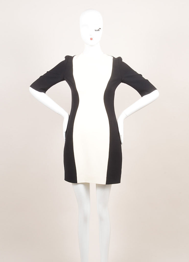 Christian Dior New With Tags Black and Cream Silk and Wool Color Block Short Sleeve Sheath Dress Frontview
